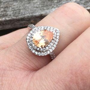 🆕List! Peach Topaz Pear Silver Ring! NEW!